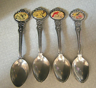 LOT of 4 Silver Plate Souvenir Spoons: Tennessee, Oklahoma, Iowa, West Virginia