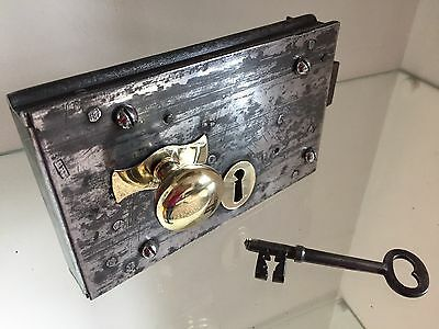 "antique  Large Front door rim lock With Key 8"" X 5"" Reclaimed"