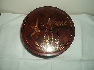 Antique Japanese lacquer collar box with stud pot Vintage Japanese gilt picture