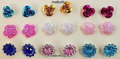 NEW Girls #27873 9 pair mix 'n match Metallic Rhinestone Party Fashion Earrings