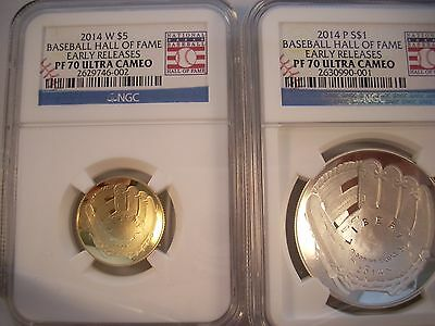 2014 W $5 BASEBALL HALL of FAME GOLD PROOF NGC PF70 ULTRA CAMEO EARLY RELEASES