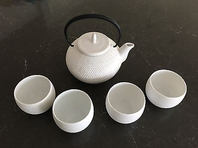 Crate And Barrel White Porcelain Tea Set With Teapot And 4 Cups NEW