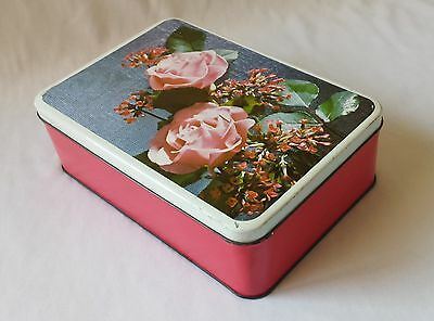 Lovely Vintage C1960's Biscuit? Lollie? Tin - Pink Roses - Ideal Storage