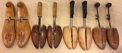 Vintage Lot 4 Pairs Wooden Shoe Trees / Stretchers Rochester New York