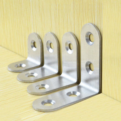 10Pcs Stainless Steel Angle Corner Right Angle Bracket Furniture Fittings PR