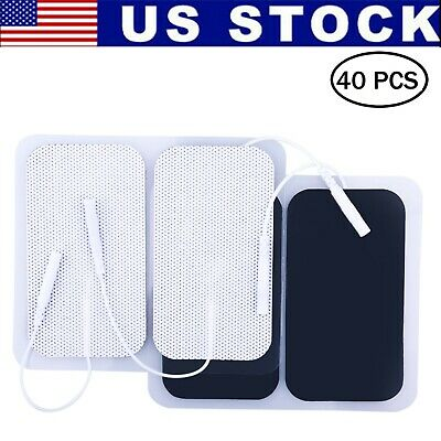 40x Replacement Pads for Massagers EMS Tens Units electrode 2x3.5'' White Cloth