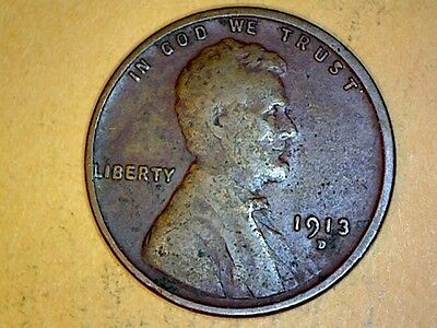 1913D  Lincoln Wheat Cents Very Nice Coin