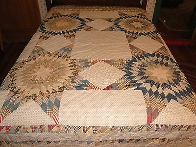 "Antique Hand Pieced Hand Quilted Lone Star Quilt 66"" X 84"" Pieced Borders"