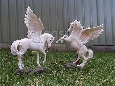 Set of 2 Pegasus Magical Mystical Winged Horse Statue Home Decor Ornament LARGE