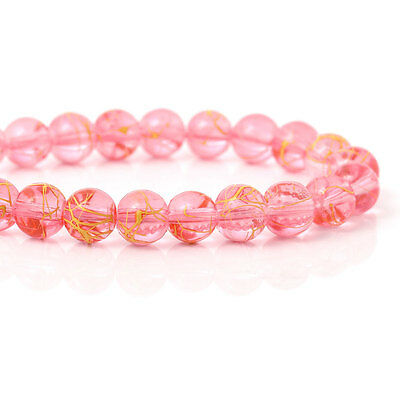 8mm Round Glass beads pink with yellow drizzle, drawbench  ~110 beads bgl1402
