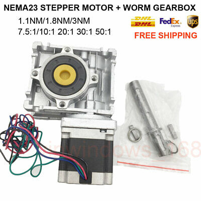 Nema23 Stepper Motor Speed Reducer CNC Worm Gearbox 7.5:1 10:1 20:1 30:1 50:1