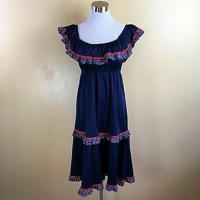 Vintage 1970s Jody T Navy Blue Peasant BOHO Disco Dress Size Small  EKLEKTIC