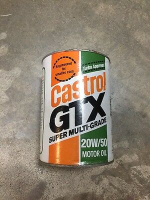 Vintage NOS Original Castrol GTX Motor Oil FULL Quart Cardboard Can 20W/50 NEW