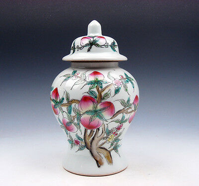 7 Inches Glazed Porcelain Famille Rose Peaches Bats Painted Ginger Jar #01221715