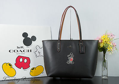New Disney X Coach F59357 City Zip Tote In Glove Calf Leather With Mickey Black