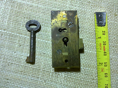 small brass cabinet lock, surface mounted,54 X 24 mm, antique or vintage (C1)