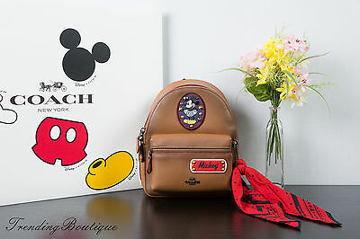 New Disney X Coach F59356 Mini Charlie Backpack Glove Leather w/ Mickey Patches