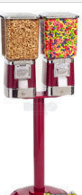 Double head candy or gumball vending machine with stand and key! 1 included