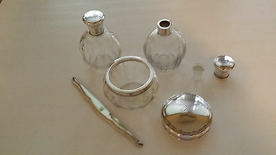 antique crystal and silver dressing table set