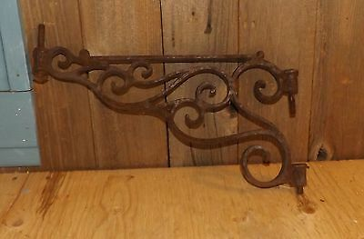 Vintage Cast Iron Rust Ornate & Heavy Hinged Wall Hanger/Holder