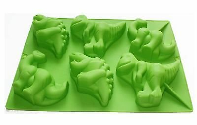 Dinosaur Shaped Silicone Cooking Mould - 6 Cavity Cake Muffin Jelly Soap Mold