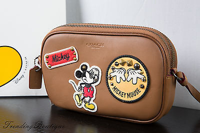 New Disney X Coach Crossbody Pouch Glove Calf Leather with Mickey Patches F59532