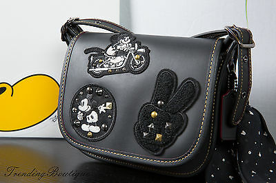 New Disney X Coach Patricia Saddle 18 Glove Calf Leather Mickey Patches F59355