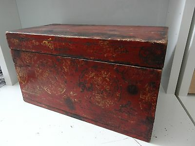 Antique  Mongolian Buddhist Hand Made Wooden Altar Box