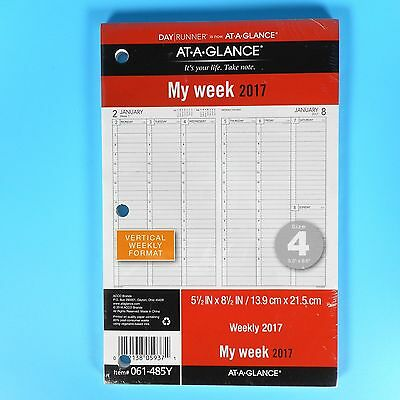 "Day Runner Weekly Planner Refill 2017 Vertical 5.5"" x 8.5"" Sz 4 Glance 061-485Y"