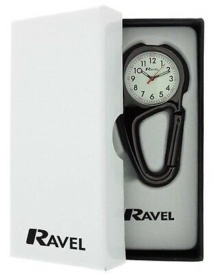 Ravel Nurses Doctors Glo Clip On Spung Fob Watch Black boxed R1105.03NG