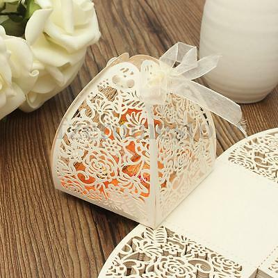 25pcs Laser Roses Wedding Party Anniversary Candy Favors Gifts Ribbon Boxes Bags