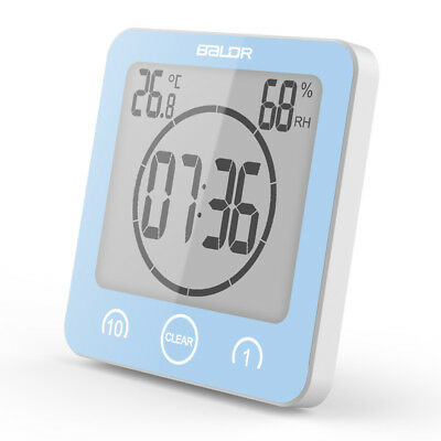 Waterproof Shower Clock Strong Suction Wall Humidity Temperature Bathroom Timer