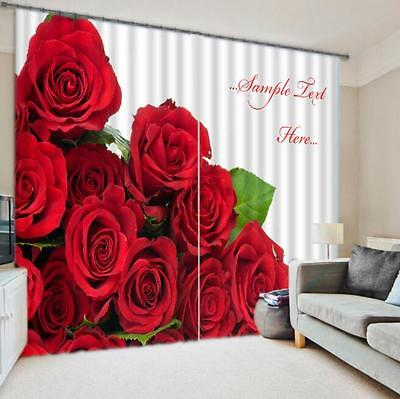 3D Roses Flower Blockout Photo Curtain Printing Curtains Drapes Fabric Window CA
