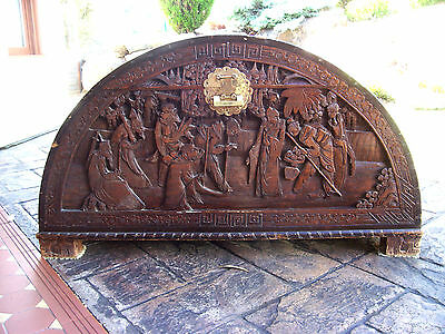 UNUSUAL 19th C ANTIQUE  CAMPHOR CHEST - HUGE DOMED SHAPE - ELABORATELY CARVED