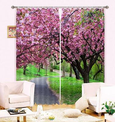 3D Flower Road Blockout Photo Curtain Printing Curtains Drapes Fabric Window CA