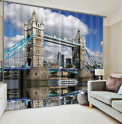 3D Bridge River Blockout Photo Curtain Printing Curtains Drapes Fabric Window CA