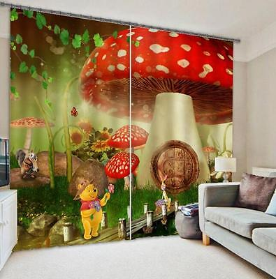 3D Cartoon Bear Blockout Photo Curtain Printing Curtains Drapes Fabric Window CA