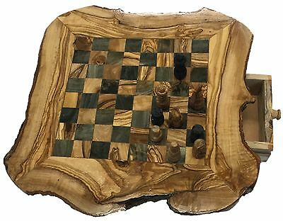 Hand Made In Tunisia Olive Wood Chess Board With Chess Pieces Large Chess Board