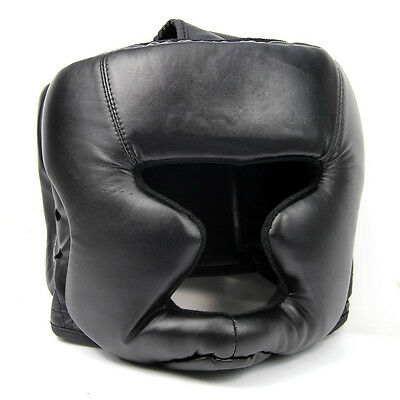 Black Good Headgear Head Guard Training Helmet Kick Boxing Protection Gear W6I4