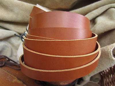 "50""LONG 3.5mm THICK SADDLE TAN BRIDLE LEATHER STRAP VEG TAN VARIOUS WIDTH"