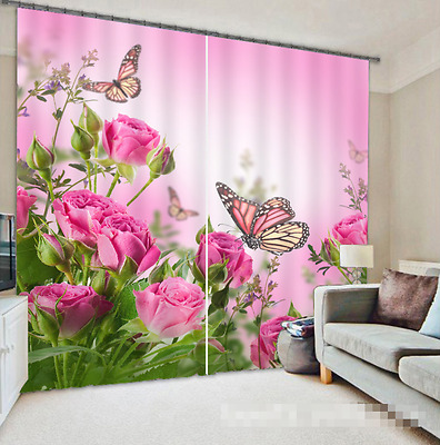 3D Flower Buds Blockout Photo Curtain Printing Curtains Drapes Fabric Window CA