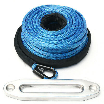 Blue 10MM x 30M Warrior Winch Rope Cable Synthetic Aluminium Fairlead Recovery