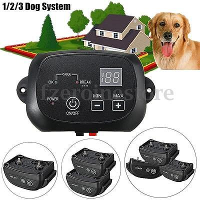 New Electric Dog Fence 1/2/3 Wireless Shock Collar Waterproof Hidden System
