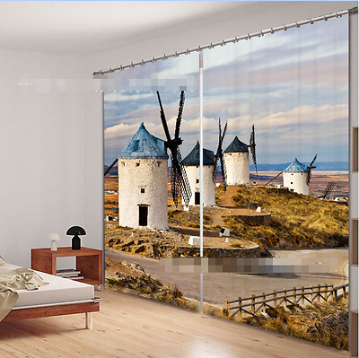 3D Windmill 79 Blockout Photo Curtain Printing Curtains Drapes Fabric Window CA