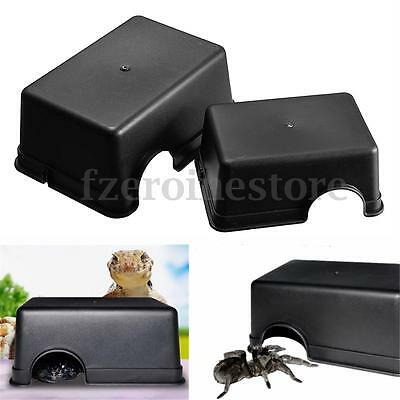 Medium/Large Reptiles Plastic Hide Box Black For Lizards Snakes Rodents