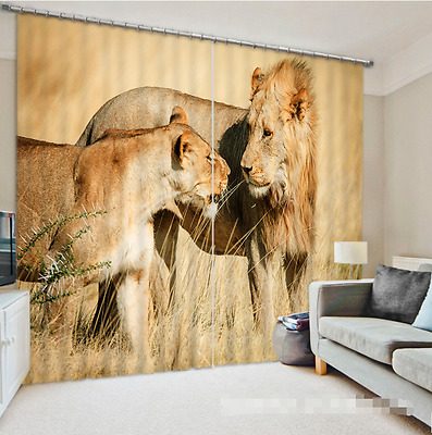 3D Lion Grass 0 Blockout Photo Curtain Printing Curtains Drapes Fabric Window CA