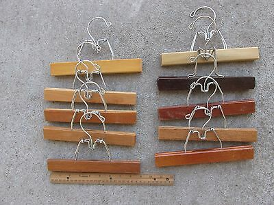 Vintage Wood Trouser Pant Skirt Clamp Clothes Hangers ~ Lot of 10