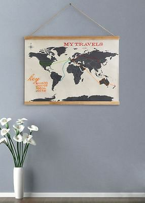 Suck UK Cross Stitch World Map Atlas Fabric Mounted Hanging Display Home Gift