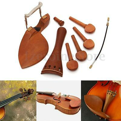Full Size 4/4 Violin Parts Wood Chinrest Pegs Tailpiece Endpin Accessories Set