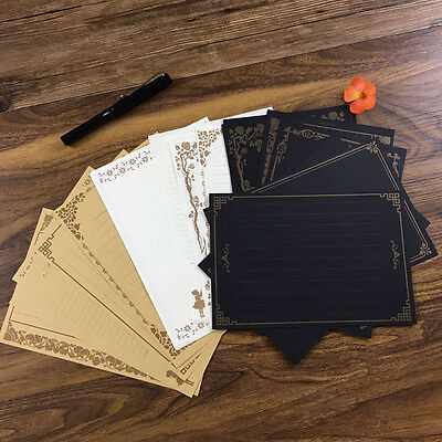 Vintage Retro Design 8 Sheets Writing Stationery Paper Pad Note Letter Set New